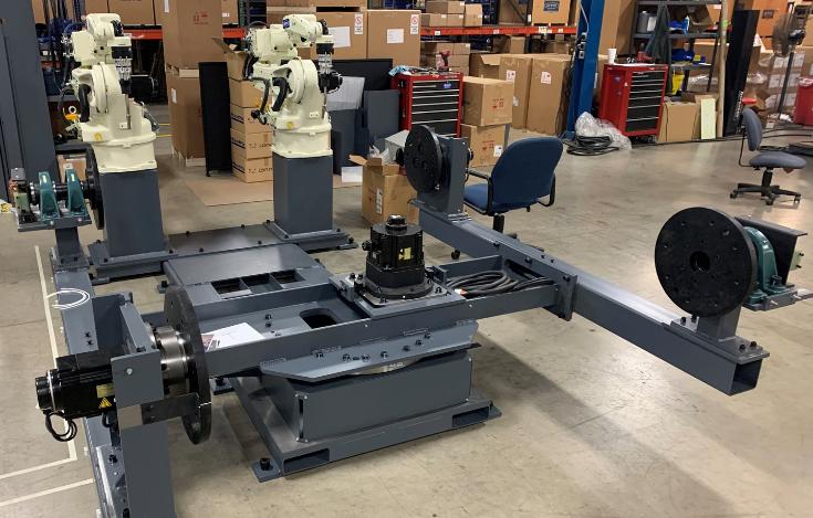 Dual OTC DAIHEN ROTA-ARC TRI-ARC robotic welding robots work simultaneously on welding project