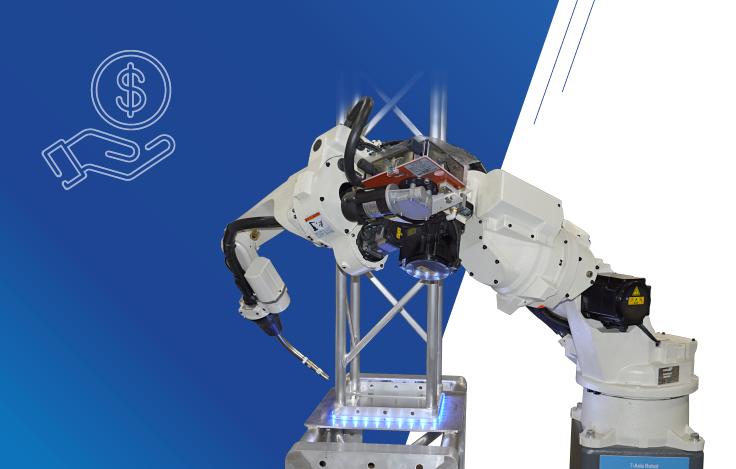 OTC Daihen robotic welding equipment with a money icon